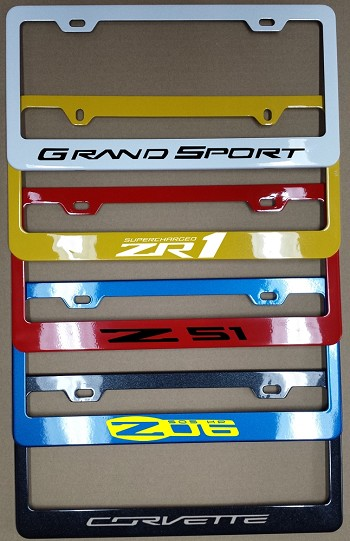C6 Corvette 2005-2013 Color Matched Painted License Plate Frames - w/ Vinyl Decal