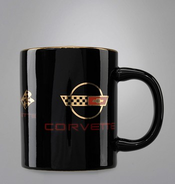 C3 C4 Corvette 1968-1996 Black Collage Travel Mug - 22K Gold Crossed Flags Logos