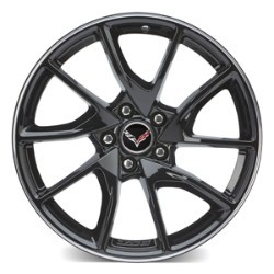 C7 Corvette Z06 2015-2019 GM Gloss Black Painted Wheels w/ Machined Groove - 19x10 / 20x12