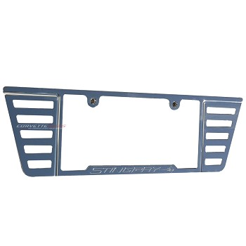 C7 Corvette Stingray 2014-2019 Chrome Angled Louvers License Plate Frame - With Stingray Etching