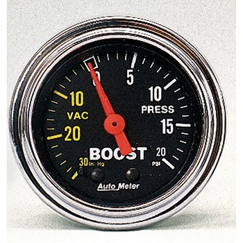 Autometer 2-1/6 inch Boost/Vacuum Gauge 30 IN HG/20 PSI - Chrome