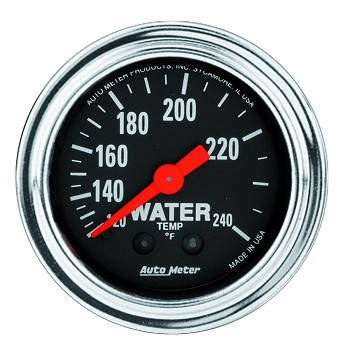 Autometer 2-1/6 inch Water Temperature Gauge 120-240F 12ft - Chrome