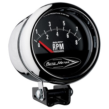 Autometer 3-3/4 inch Pedestal Tachometer 0-8000 RPM - Short Sweep - Chrome