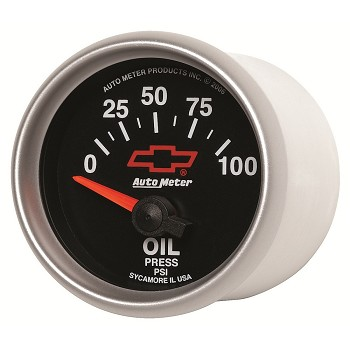 Autometer 2-1/16 inch Oil Pressure Gauge 0-100 PSI - Air-Core GM Black w/ Bowtie Logo