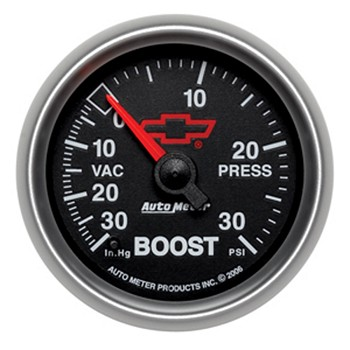 Autometer 2-1/16 inch Boost/Vacuum Gauge 30 IN HG/30 PSI - GM Black w/ Bowtie Logo