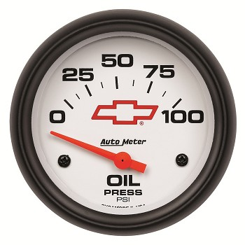 Autometer 2-5/8 inch Oil Pressure Gauge 0-100 PSI - Air-Core GM White w/ Bowtie Logo