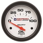 Universal Corvette 1968-2014+ Autometer 2-5/8 inch Oil Pressure 0-100 PSI - GM White
