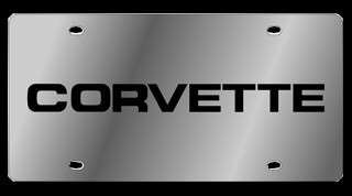 C4 Corvette 1984-1996 License Plate - C4 Lettering - Stainless Steel Polished