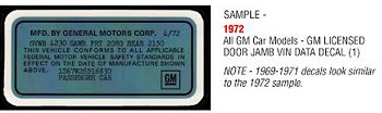 C3 Corvette 1969-1977 GM Licensed Door Jamb VIN Data Decals
