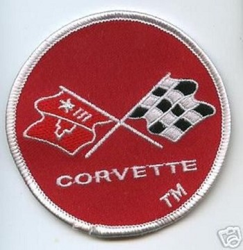 C3 Corvette 1968-1982 Embroidered Crossed Flags Patch - Red - 3 Inch