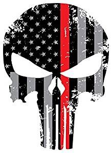 back our heroes tattered american flag punisher skull decal police