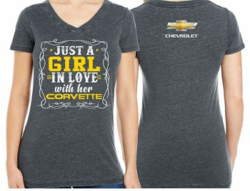 Ladies 'Girl In Love With Her Corvette' Vintage Grey T-Shirt