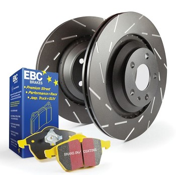 C6 Corvette Z06 2006-2008 Stage 9 EBC Front Slotted Rotors w/ Yellow Brake Pad Kit