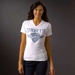 Women's Corvette C6 Crossed Flags And Shield T-Shirt