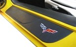 C6 Corvette Leather Door Sill Overlays - Crossflags, Z06 & Grand Sport Designs