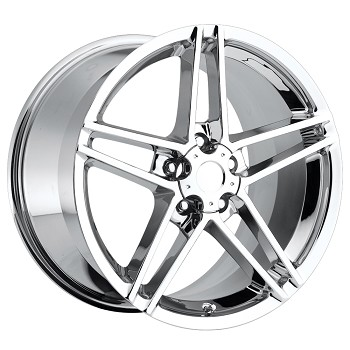 C6 Corvette 05-13 Z06 Style Corvette Wheels Set Chrome No Rivets 18x8.5/19x10