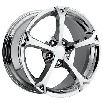 C6 Corvette 2005-2013 Grand Sport Style Wheel Set Chrome 18x8.5/19x10