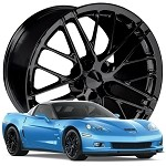 Corvette C6 ZR1 Style Wheels Set 05-13 Gloss Black 18x9.5/19x12
