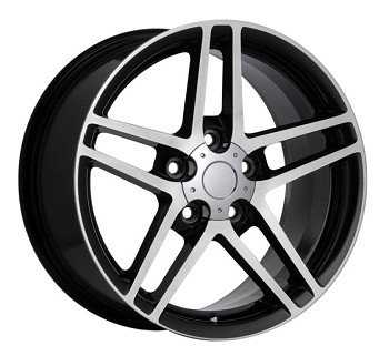 C6 Corvette 2005-2013 Z06 Style Black w/ Machined Face Wheel Set 18x9.5/19x12
