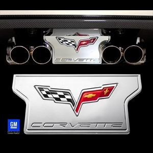 C6 Corvette 2005-2013 Non-NPP Exhaust Plate - Billet Chrome with C6 Logo