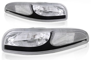 C5 Corvette 1997-2004 Clear Parking Signal Lenses With Black Accent Trim