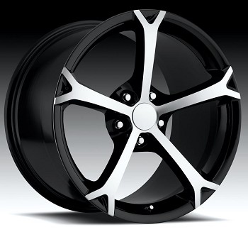 C4 C5 Corvette 1988-2004 Fitment - 2010 Grand Sport Style Corvette Wheels Black w/ Machined Face Set 17x8.5/18x9.5