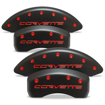 Corvette C6 Base/Grand Sport/Z06 05-13 Brake Caliper Cover Set (4) - Black Covers With Colored Lettering