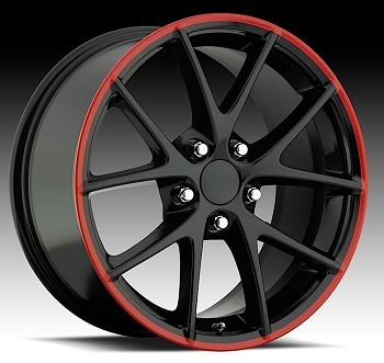 C6 Corvette Z06 2005-2013 Spyders Black w/ Red Stripe Wheels - 18x8.5/19x10