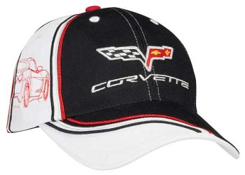 C6 Corvette 2005-2013 Twill Cap - Black with White Side Panels