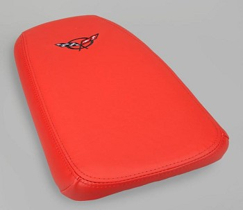 1997-2004 C5 Corvette Console Cushion Lid Assembly, Solid Color Leather Embroidered C5 or Z06 Emblem