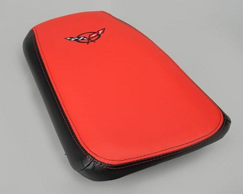 1997-2004 C5 Corvette Console Cushion Lid Assembly, 2-Tone Leather, C5 or Z06 Embroidered Emblem