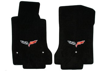 C6 Corvette 2005-2013 Lloyd Velourtex Front Floor Mats - Logo Only