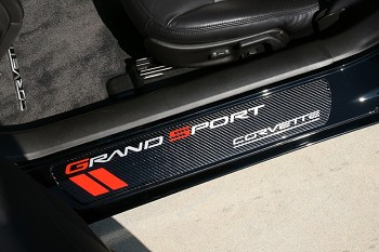 C6 Corvette 2010-2013 Door Sill Guards Carbon Fiber - Grand Sport Logo