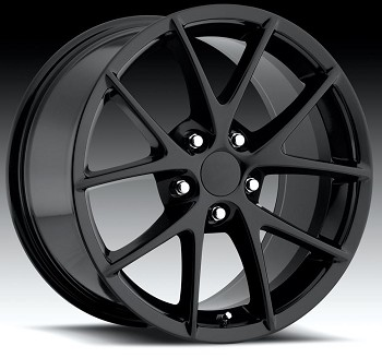 C6 Corvette 2005-2013 Gloss Black Spyder Z06 Style Wheels Set Of Four 18x8.5/19x10