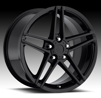 C5 C6 Corvette 1997-2013 C6 Z06 Style Gloss Black Wheel Set 18x9.5/19x10