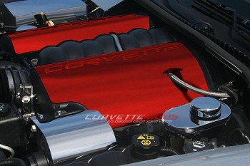 C6 Corvette 2005-2013 LS2 / LS3 Fuel Rail Covers Custom Painted With Corvette Script