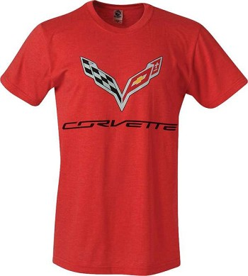 C7 Corvette 2014-2019 T-Shirt w/ C7 Corvette Flags and Script - Red