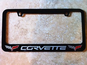 C6 Corvette 2005-2013 Black Powder-Coated Script & Flag Logo License Plate Frame
