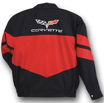C5 C6 Corvette 1997-2013 Twill Jacket - Red/Black