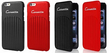 C3 Corvette 1968-1982 Leather Club Black/Red Phone Cases w/ Corvette Script - iPhone 6/6 Plus