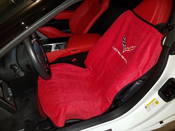 C7 Corvette Stingray/Z06/Grand Sport 2014-2019 Seat Armour Seat Cover Towel - Corvette Script