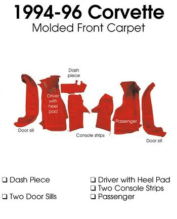 C4 Corvette 1994-1996 Coupe/Convertible Carpet Set - Front With Pad Options
