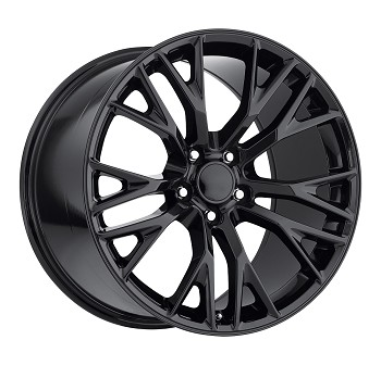 C7 Corvette Gloss Black OEM Style Z06 Wheels - Fitment For C6 2005-2013 18x8.5/19x10