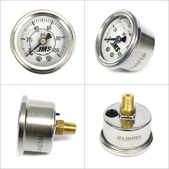 JMS Performance 0-100 PSI Fuel or Oil Pressure Gauge - White