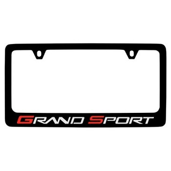 C6 Corvette 2010-13 Black Powder-Coated Grand Sport Logo License Plate Frame