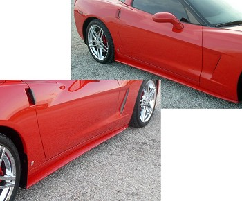 C6 Corvette 2005-2013 ZR1 Style Side Skirts Custom Painted - Base Model Only