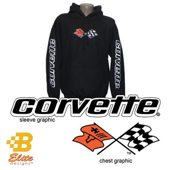 C3 C4 C5 C6 Corvette 1968-2013 Hooded Sweatshirt with Sleeve Print