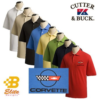 C4 C5 C6 Z06 ZR1 and Grand Sport Corvette Embroidered Mens Cutter & Buck Ace Polo Shirt