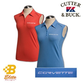C6 Corvette 2005-2013 Script Sleeveless Ladies Cutter & Buck Polo