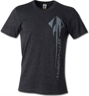 C7 Corvette Stingray 2014-2019 Vertical Script T-Shirt - Gray/Blue